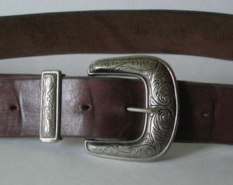 Quality brown leather vintage belt Southwest style etched silver buckle sz L 36