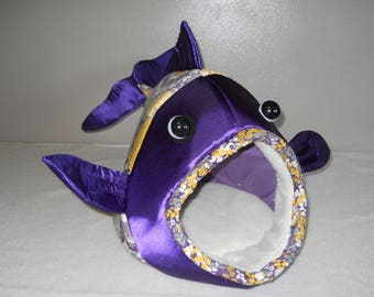 Fish Shaped Pet Bed Purple Yellow Flowers with Purple Head Fabric