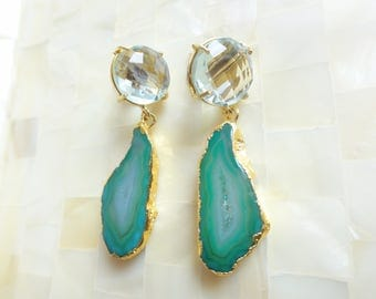 Faceted Green Quartz Round Posts & Gold Edge Shaded Green Agate Geode Slice Smooth Polished Drop Dangle Earrings (E1282)