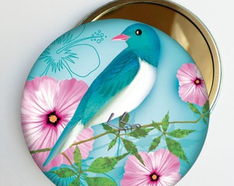 "Floral Pocket mirror ""Rosy"" bird, accessory gift woman"