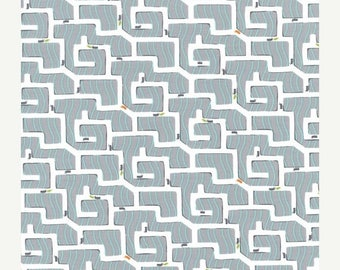 SALE 10% Off - Ant Maze in Gray PS-5343 - BACKYARD Baby - Michael Miller Fabrics - By the Yard