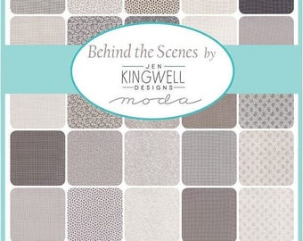 SALE 10% Off - Layer Cake 10-inch Squares - Behind the Scenes by Jen Kingwell Designs - Moda Fabrics - 42 squares