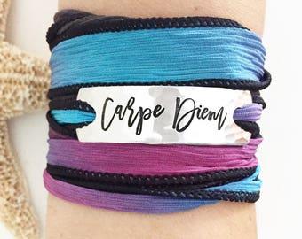 Carpe Diem, Wrap Bracelet, Bohemian Bracelet, Bohemian Jewelry, Boho Jewelry, Yoga Jewelry, Yoga Bracelet, Gypsy Bracelet, Gypsy Jewelry
