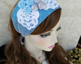 Lovely headband,haarband, israeli tichels, fancy headbands, by oshratdesignz
