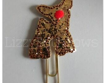 Planner clip, bookmark, planner feltie clip, felt bookmark, reindeer feltie clip, red nose clip, Rudolph glitter reindeer, Christmas in July