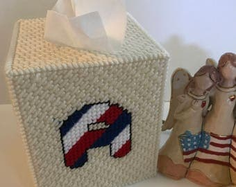 Patriotic Color Flag Tissue Box Cover Personalized  Handmade Monogrammed Letter Initials Tissue Box Cover. Plastic Canvas Tissue Box Cover