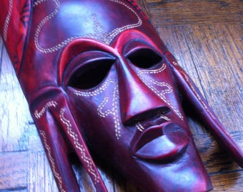 Handmade Large Hand-painted Colorful Wooden Maasai/Masai Face Mask from Kenya