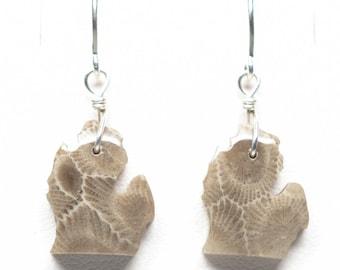 Petoskey Stone Michigan Earrings - Sterling Silver - Mitten - Lower Peninsula