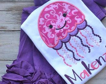 Jelly Fish Appliqued Shirt, Girls Shirt, Personalized Shirt