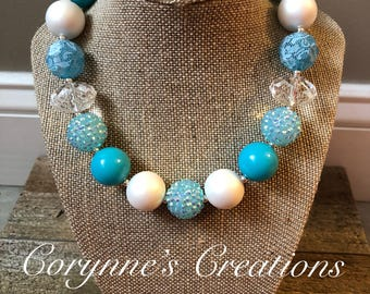 Chunky Bubblegum Bead Necklace with Teal and White Beads