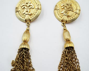 Giant 80's tassle earrings with chinese characters  F625