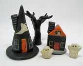 SET of MINIATURE Halloween spooky houses ghosts and tree Janell Berryman Pumpkinseeds HOME decor collectible