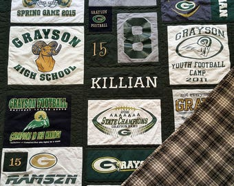 T-Shirt Quilt Custom Order Memory Quilt, Order yours today, Throw or Lap Quilt