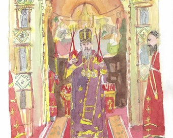 Original watercolor Russian Church-Orthodox Easter-Orthodox priest