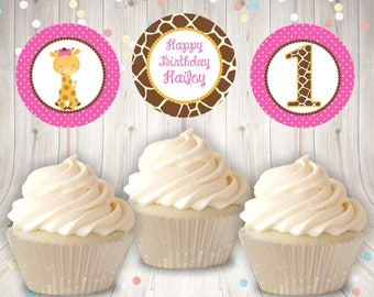 Wild One Giraffe Cupcake Toppers Instant Download 1st Birthday Party Printable Jungle Animals Safari
