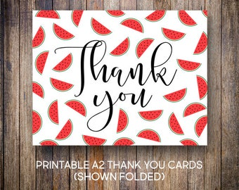 Watermelon Thank You Card, SummerThank You Notes, Birthday Thank You, Red Watermelons, Digital Download, Printable Cards, 605