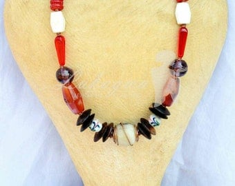 Red African beaded necklace,Red African jewelry,Red African necklace