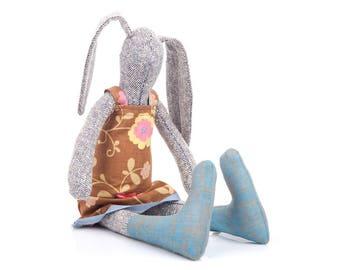 Stuffed rabbit , Bunny doll , Oneofakind doll , Textile Bunny , Easter stuffed , rabbit hare doll , bunny plush , rabbit toy , softie toy ,