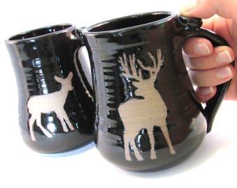Coffee Mug - Buck and Doe  - Two Deer Mugs - Mug Set - Pottersong - Handmade Pottery - Wild Animals Silhouette - Black Mugs