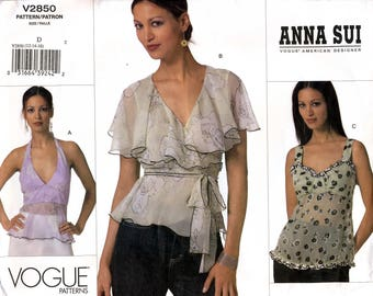 Vogue V2850 Sewing Pattern by Designer Anna Sui for Misses' Top - Uncut - Size 12, 14, 16