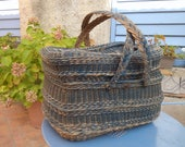 Large Vintage French Picnic Basket Handmade of Woven Willow