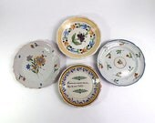 Antique French Plates Group of 4  from late 1700s to 1800s Hand Painted