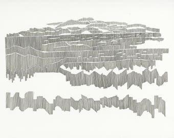 Chart 24 - ORIGINAL ARTWORK / abstract contemporary art / cartography / music score / composition