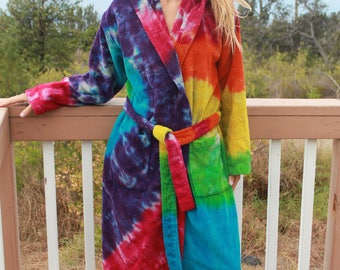 Tie Dye Hooded Bath Robe One Size Upcycled