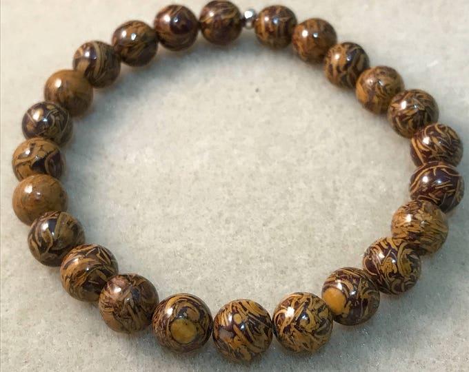 Sanskrit Jasper Bracelet, Elephant Jasper Bracelet, 8mm Bracelet, Stretch Bracelet, Bead Bracelet, Beaded Bracelet, Sanskrit Stone