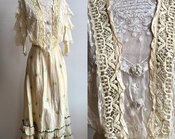 Victorian Lace Blouse and Print Skirt Day Dress