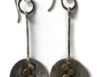 Mixed Metal Pebble Earrings