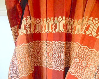 Vintage earthy rusty orange embroidered Fabric LOT