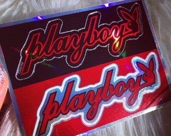 90s Playboy Bunny Vending Machine Hologram Prismatic Vintage Sticker