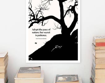 RALPH WALDO EMERSON Literary Art Prints, Minimalist Poster, Modern Large Wall Art Print, Illustration, Typography Literary Gifts, Book Lover