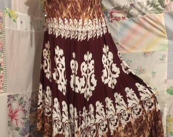 MEDIUM, Dress Flowerchild Bohemian Hippie Boho Lightweight Brown Dress