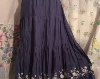 SMALL, Skirt, Bohemian Hippie Gypsy Blue Boho Tiered Flowerchild Embroidered Skirt