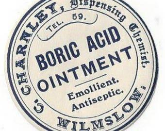 Vintage Boric Acid Ointment C. Charnley Dispensing Chemist Pharmacy Label, C1910