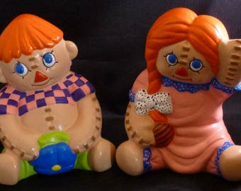 Vintage Ceramic Stitched Rag Doll Figurines, 1970s