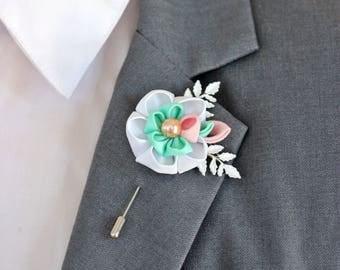 1 Carnation flover, cotton, Linen Flower pin, mens boutonniere, mens lapel pin, vintage lapel wedding boutonniere, pink wedding boutonniere