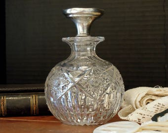 Antique Victorian Sterling Cut Glass Scent Bottle Sterling Silver Stopper / R Wallace and Sons / Perfume Bottle Decanter Sterling Silver
