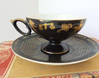 Vintage HOROSCOPE TEACUP, Zodiac Teacup, Astrology Teacup, TASEOGRAPHY Teacup, Marked 6388, Black and Gold Horoscope Teacup