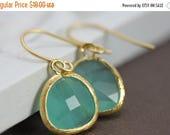 SALE - Drop Earring, Dangle Earring, Bridesmaid Gift Idea, Aqua Gold Earrings, Glass Earrings, Bridesmaid Jewelry, Teardrop Wedding Earrings