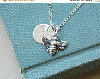 SALE - Personalized Bee Necklace Sterling Silver Initial Charm Necklace, Silver Bee Necklace, Bee Jewelry