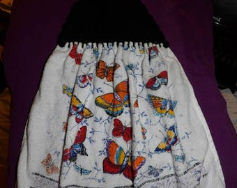 Colorful Butterfly print towel with croched black yarn top - ctc