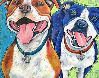PitBull Pitty Party art print Dog Art Print Pet Art boxer Portrait Print