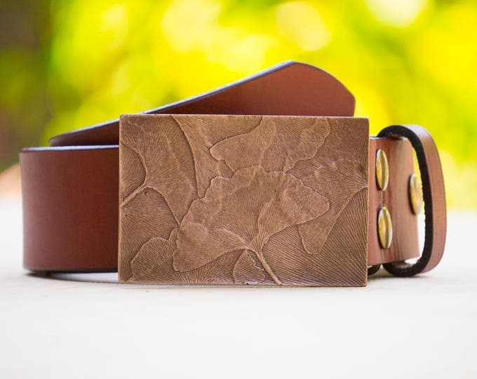 "Gingko 2.0"" Bronze Belt Buckle"