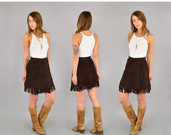 SUMMER SALE 70's Suede Fringe Mini Skirt