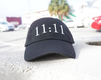 11:11 Black Baseball Hat / Dad Hat  / Unconstructed / Designed by GAG THREADS