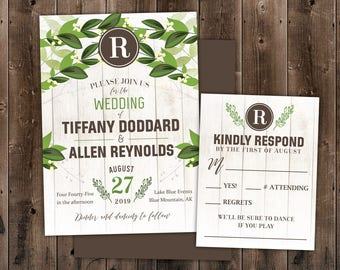 Rustic Monogram wedding invitation set, wedding invitation suite, Foliage Wedding, Leaves, Nature, envelopes included - printed on 100 lb
