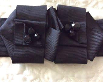 Vintage black cinch belt Wide Ribbon flower Buckle with Beads
